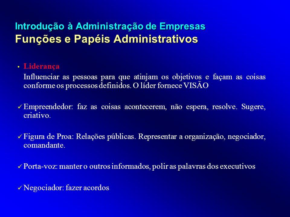 Introdução à Administração de Empresas Funções e Papéis Administrativos Liderança Influenciar as pessoas para que atinjam os objetivos e façam as cois