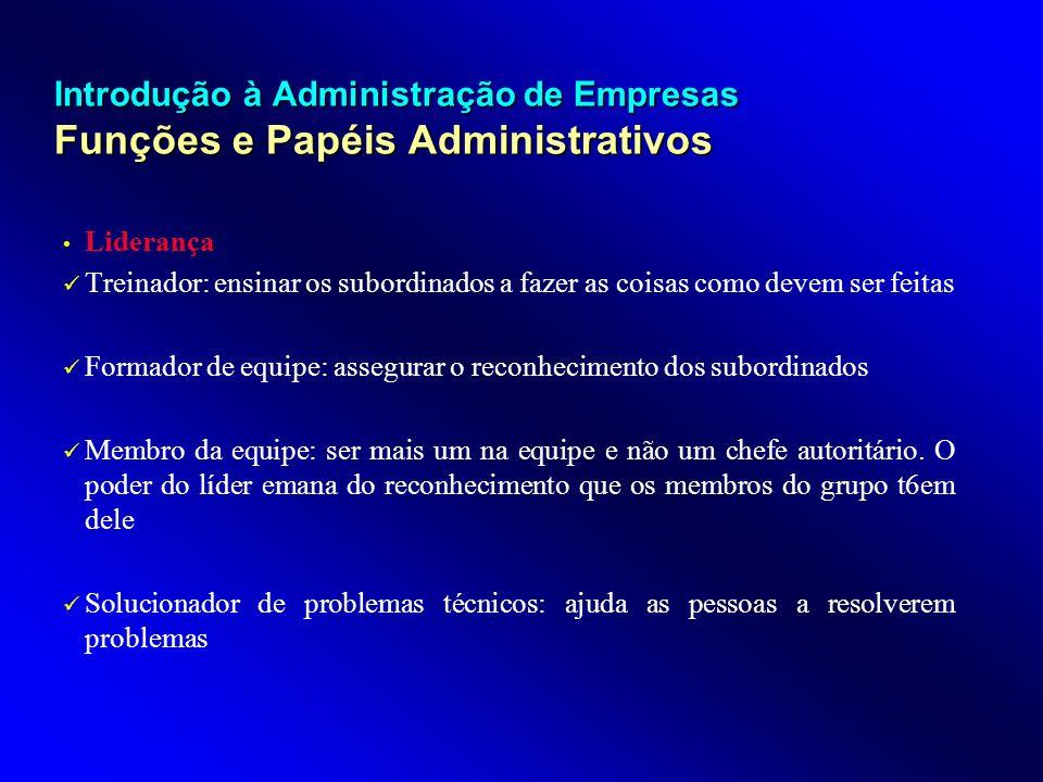 Introdução à Administração de Empresas Funções e Papéis Administrativos Liderança Treinador: ensinar os subordinados a fazer as coisas como devem ser