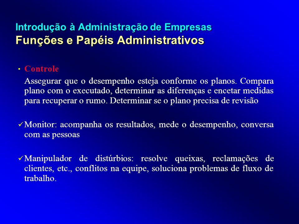 Introdução à Administração de Empresas Funções e Papéis Administrativos Controle Assegurar que o desempenho esteja conforme os planos. Compara plano c