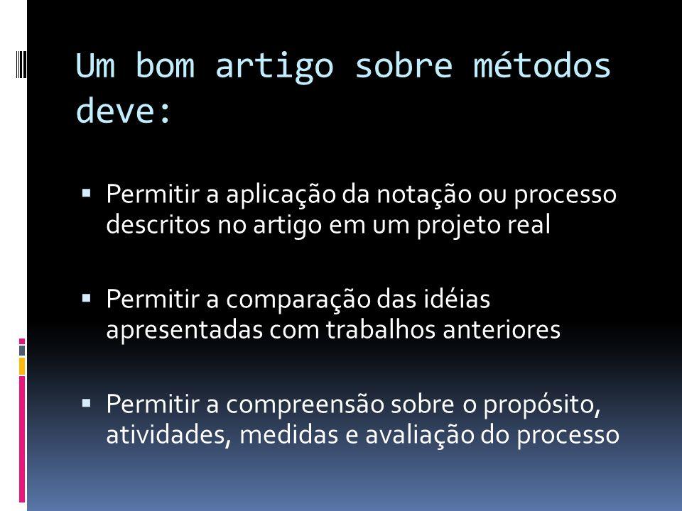 Um bom artigo sobre métodos deve: Permitir a aplicação da notação ou processo descritos no artigo em um projeto real Permitir a comparação das idéias