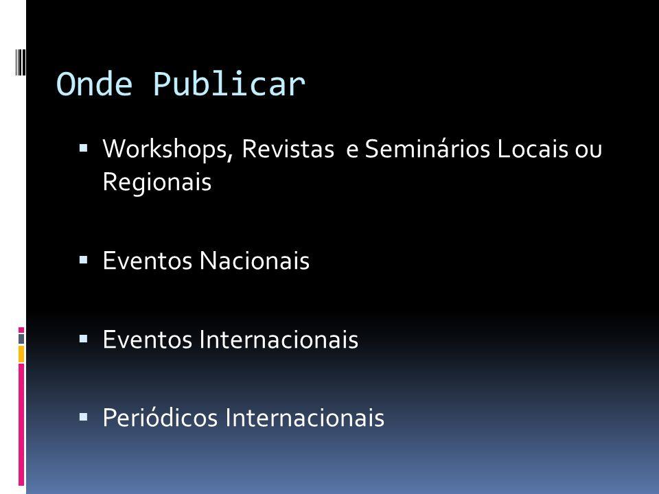 Onde Publicar Workshops, Revistas e Seminários Locais ou Regionais Eventos Nacionais Eventos Internacionais Periódicos Internacionais