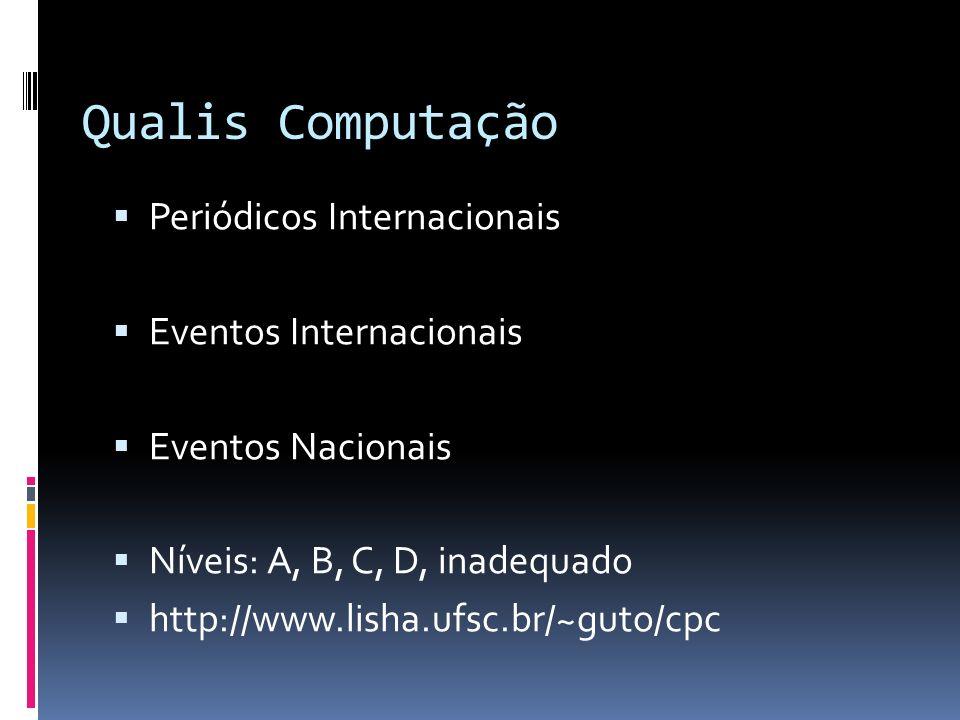 Qualis Computação Periódicos Internacionais Eventos Internacionais Eventos Nacionais Níveis: A, B, C, D, inadequado http://www.lisha.ufsc.br/~guto/cpc