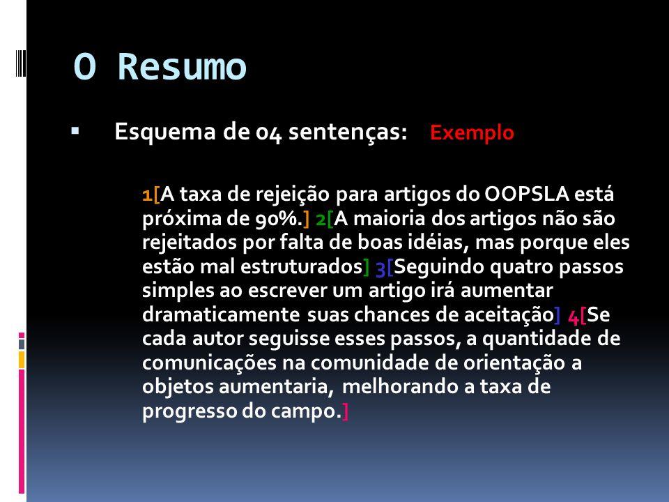 O Resumo Esquema de 04 sentenças: Exemplo 1[A taxa de rejeição para artigos do OOPSLA está próxima de 90%.] 2[A maioria dos artigos não são rejeitados
