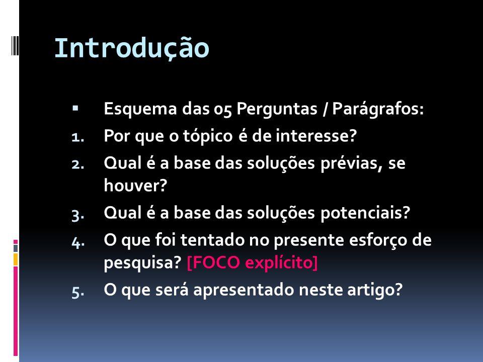 Introdução Esquema das 05 Perguntas / Parágrafos: 1. Por que o tópico é de interesse? 2. Qual é a base das soluções prévias, se houver? 3. Qual é a ba