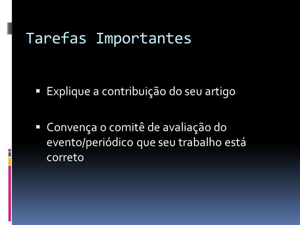 Tarefas Importantes Explique a contribuição do seu artigo Convença o comitê de avaliação do evento/periódico que seu trabalho está correto