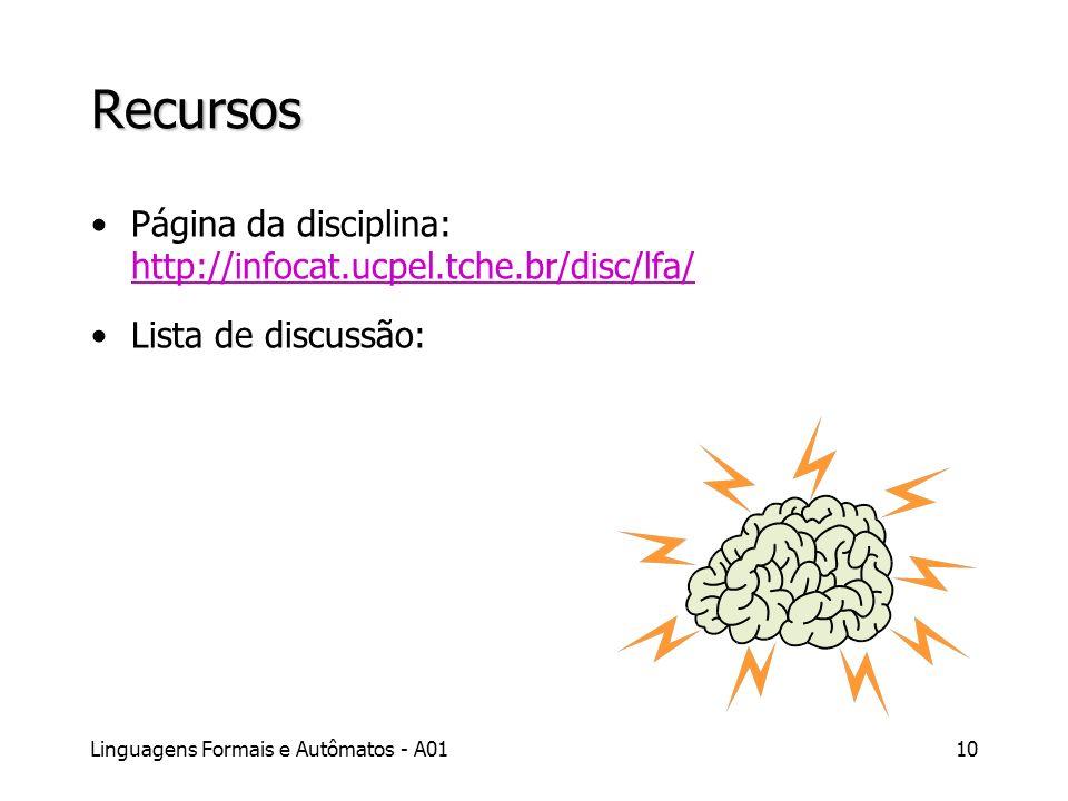 Linguagens Formais e Autômatos - A0110 Recursos Página da disciplina: http://infocat.ucpel.tche.br/disc/lfa/ http://infocat.ucpel.tche.br/disc/lfa/ Li