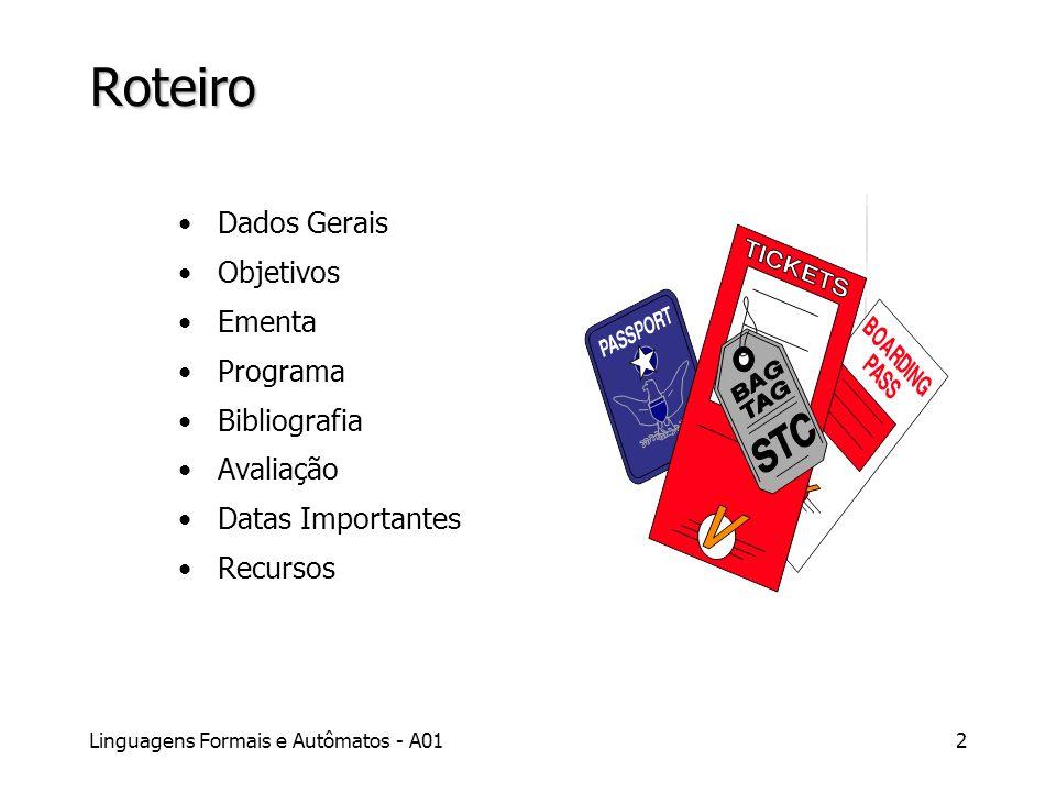 Linguagens Formais e Autômatos - A012 Roteiro Dados Gerais Objetivos Ementa Programa Bibliografia Avaliação Datas Importantes Recursos