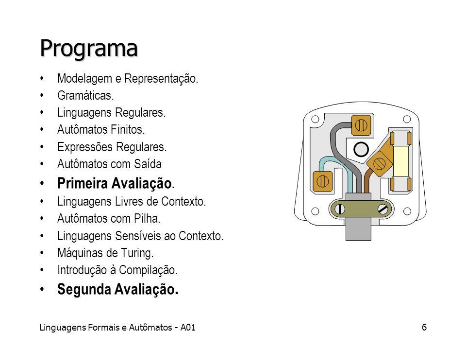 Linguagens Formais e Autômatos - A017 Bibliografia MENEZES, Paulo F B: Linguagens Formais e Autômatos.