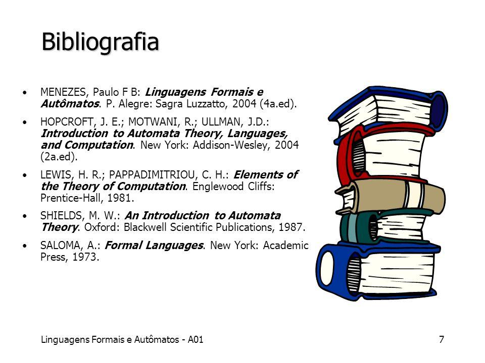Linguagens Formais e Autômatos - A017 Bibliografia MENEZES, Paulo F B: Linguagens Formais e Autômatos. P. Alegre: Sagra Luzzatto, 2004 (4a.ed). HOPCRO