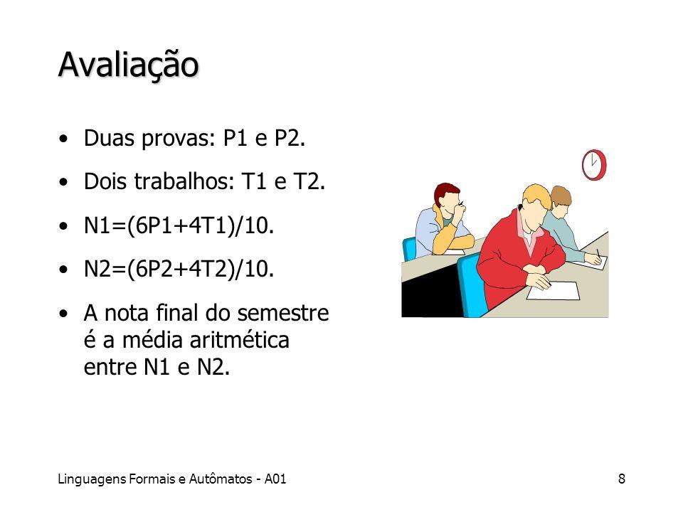 Linguagens Formais e Autômatos - A018 Avaliação Duas provas: P1 e P2. Dois trabalhos: T1 e T2. N1=(6P1+4T1)/10. N2=(6P2+4T2)/10. A nota final do semes