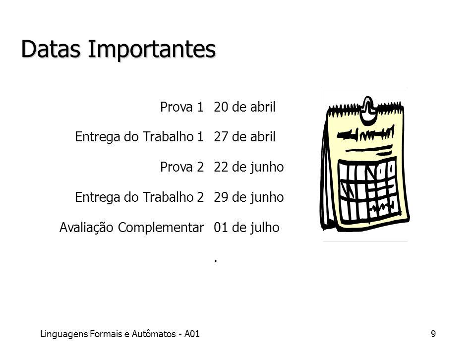 Linguagens Formais e Autômatos - A019 Datas Importantes Prova 1 Entrega do Trabalho 1 Prova 2 Entrega do Trabalho 2 Avaliação Complementar 20 de abril