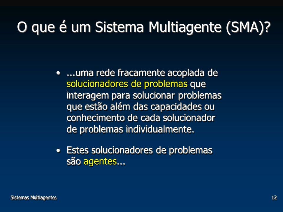 12 O que é um Sistema Multiagente (SMA)?...uma rede fracamente acoplada de que interagem para solucionar problemas que estão além das capacidades ou c