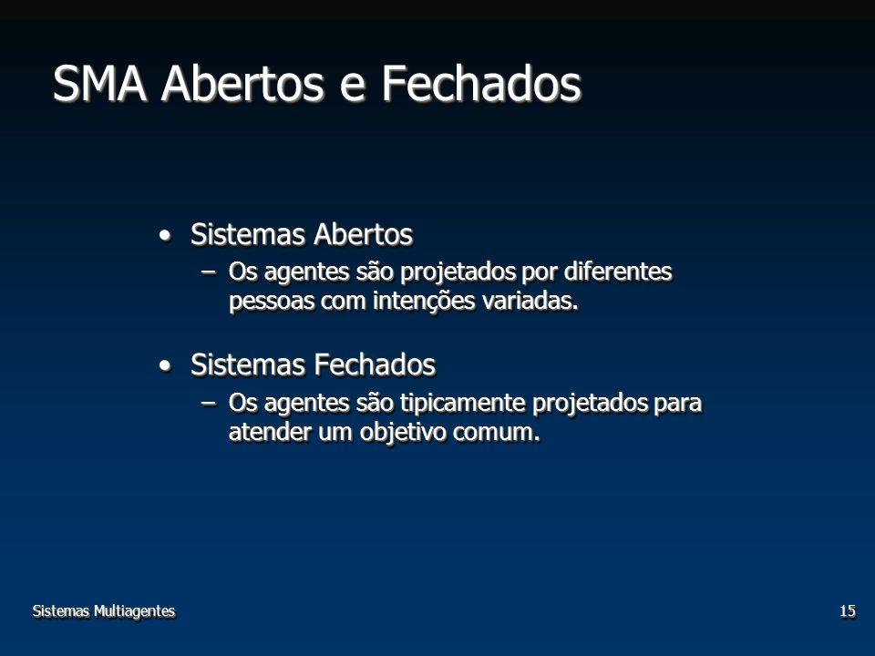 Sistemas Multiagentes15 SMA Abertos e Fechados Sistemas AbertosSistemas Abertos –Os agentes são projetados por diferentes pessoas com intenções variadas.