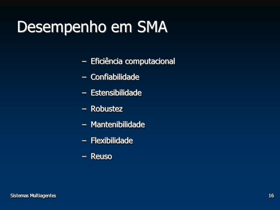 Sistemas Multiagentes16 Desempenho em SMA –Eficiência computacional –Confiabilidade –Estensibilidade –Robustez –Mantenibilidade –Flexibilidade –Reuso