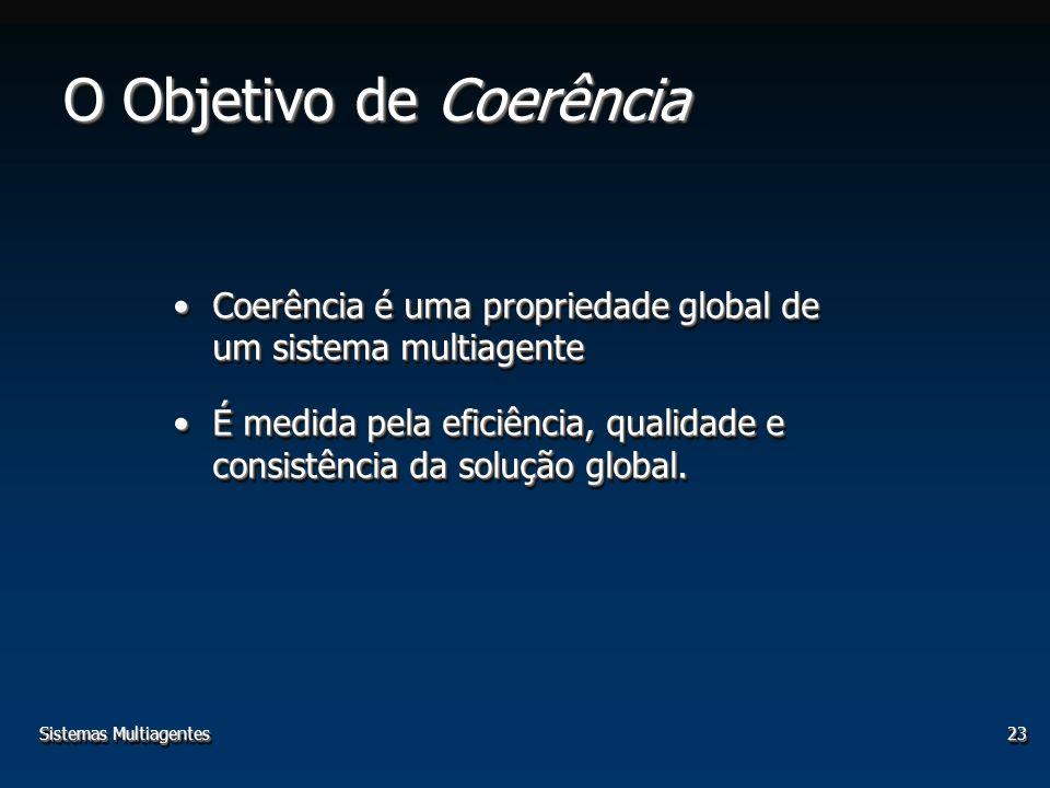 Sistemas Multiagentes23 O Objetivo de Coerência Coerência é uma propriedade global de um sistema multiagenteCoerência é uma propriedade global de um sistema multiagente É medida pela eficiência, qualidade e consistência da solução global.É medida pela eficiência, qualidade e consistência da solução global.