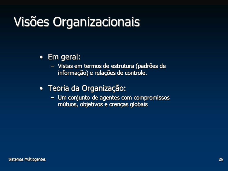 Sistemas Multiagentes26 Visões Organizacionais Em geral:Em geral: –Vistas em termos de estrutura (padrões de informação) e relações de controle. Teori