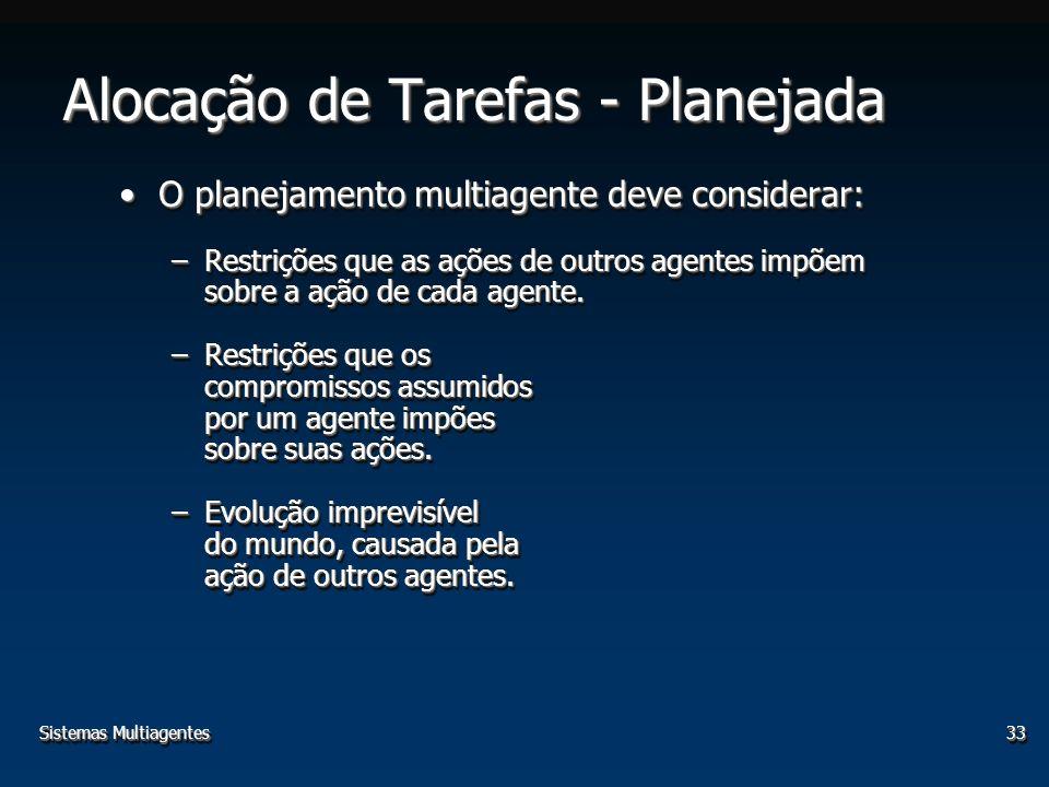 Sistemas Multiagentes33 Alocação de Tarefas - Planejada O planejamento multiagente deve considerar:O planejamento multiagente deve considerar: –Restrições que as ações de outros agentes impõem sobre a ação de cada agente.