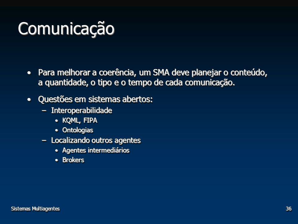 Sistemas Multiagentes36 ComunicaçãoComunicação Para melhorar a coerência, um SMA deve planejar o conteúdo, a quantidade, o tipo e o tempo de cada comu