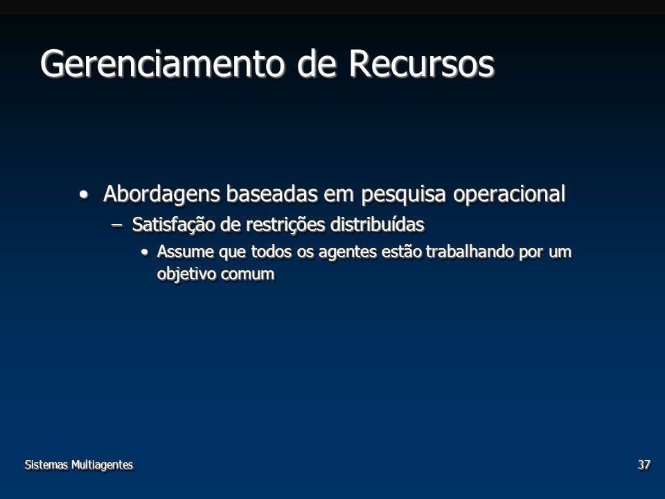 Sistemas Multiagentes37 Gerenciamento de Recursos Abordagens baseadas em pesquisa operacionalAbordagens baseadas em pesquisa operacional –Satisfação d