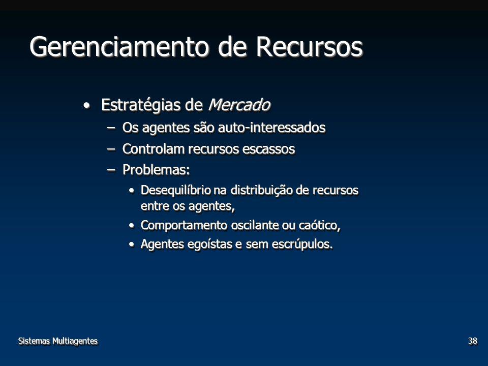 Sistemas Multiagentes38 Gerenciamento de Recursos Estratégias de MercadoEstratégias de Mercado –Os agentes são auto-interessados –Controlam recursos e
