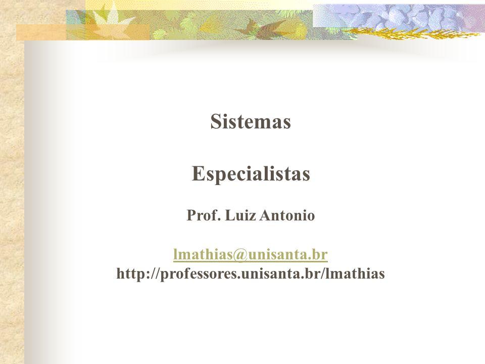 Sistemas Especialistas Prof. Luiz Antonio lmathias@unisanta.br http://professores.unisanta.br/lmathias