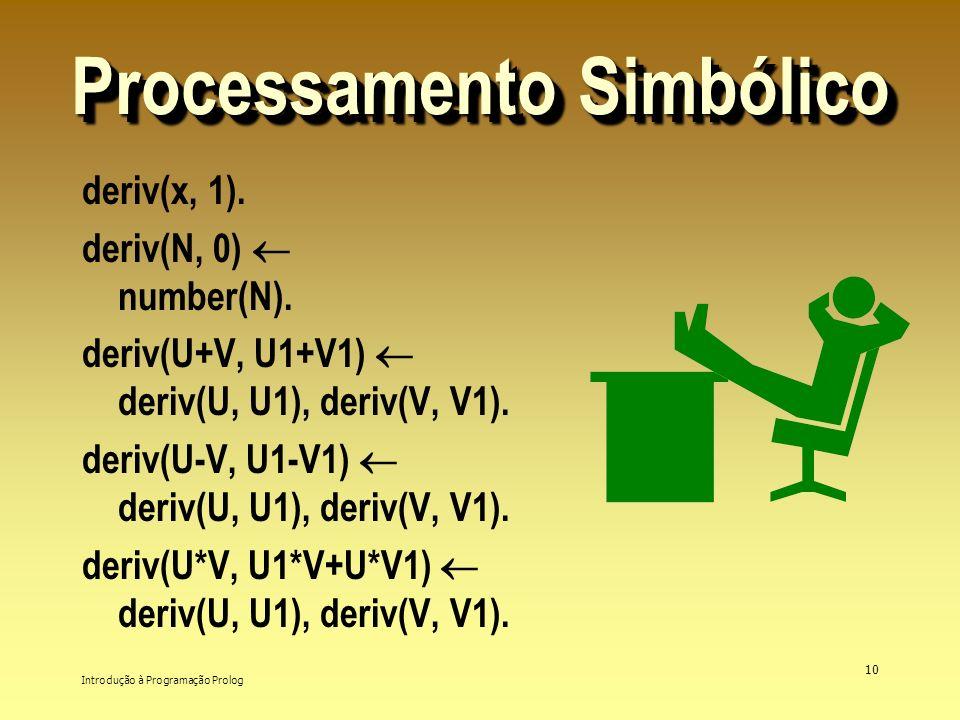 Introdução à Programação Prolog 10 Processamento Simbólico deriv(x, 1). deriv(N, 0) number(N). deriv(U+V, U1+V1) deriv(U, U1), deriv(V, V1). deriv(U-V
