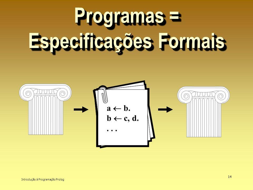 Introdução à Programação Prolog 14 Programas = Especificações Formais a b. b c, d....