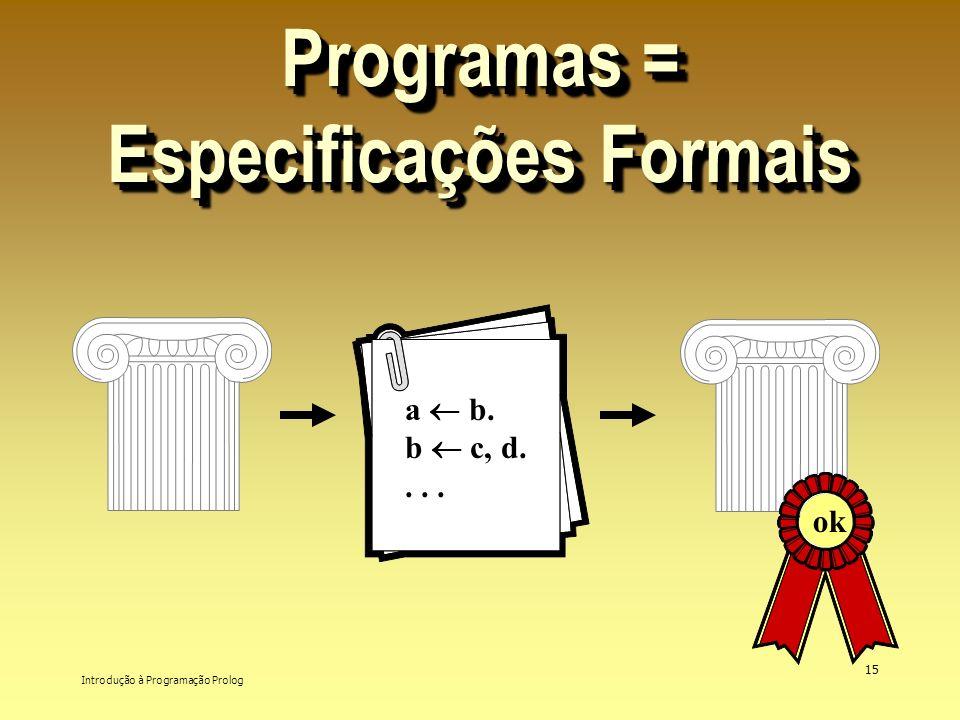 Introdução à Programação Prolog 15 Programas = Especificações Formais a b. b c, d.... ok