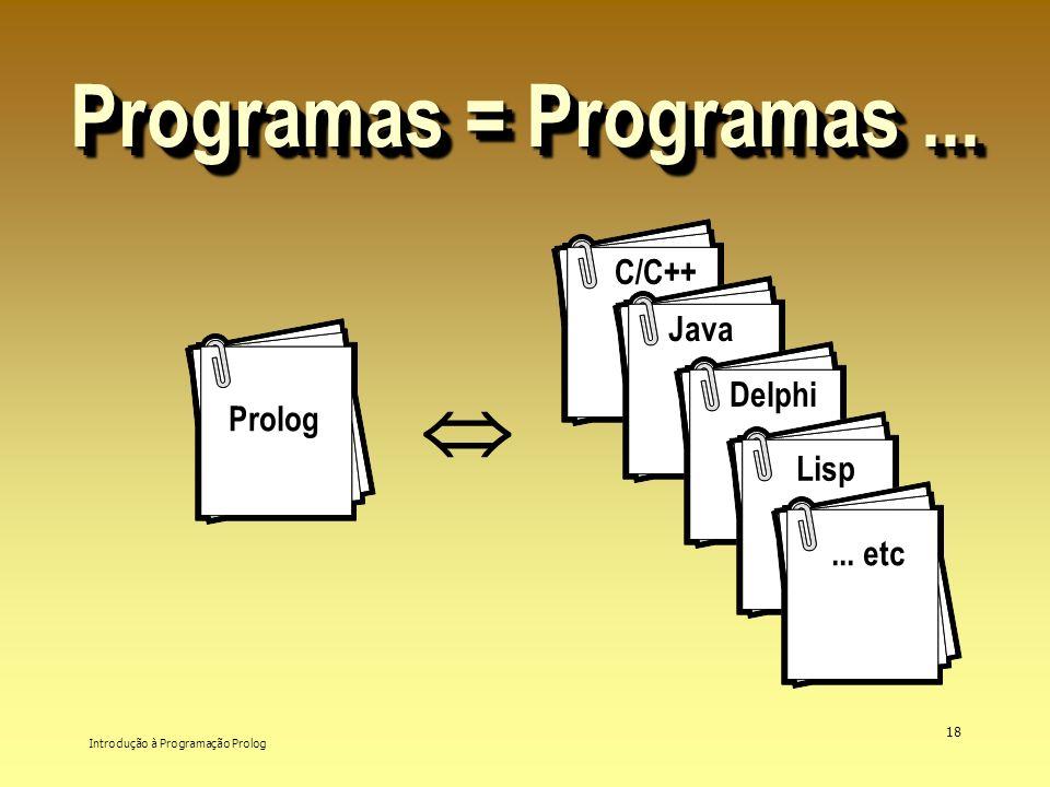 Introdução à Programação Prolog 18 Programas = Programas... Prolog C/C++ Java Delphi Lisp... etc