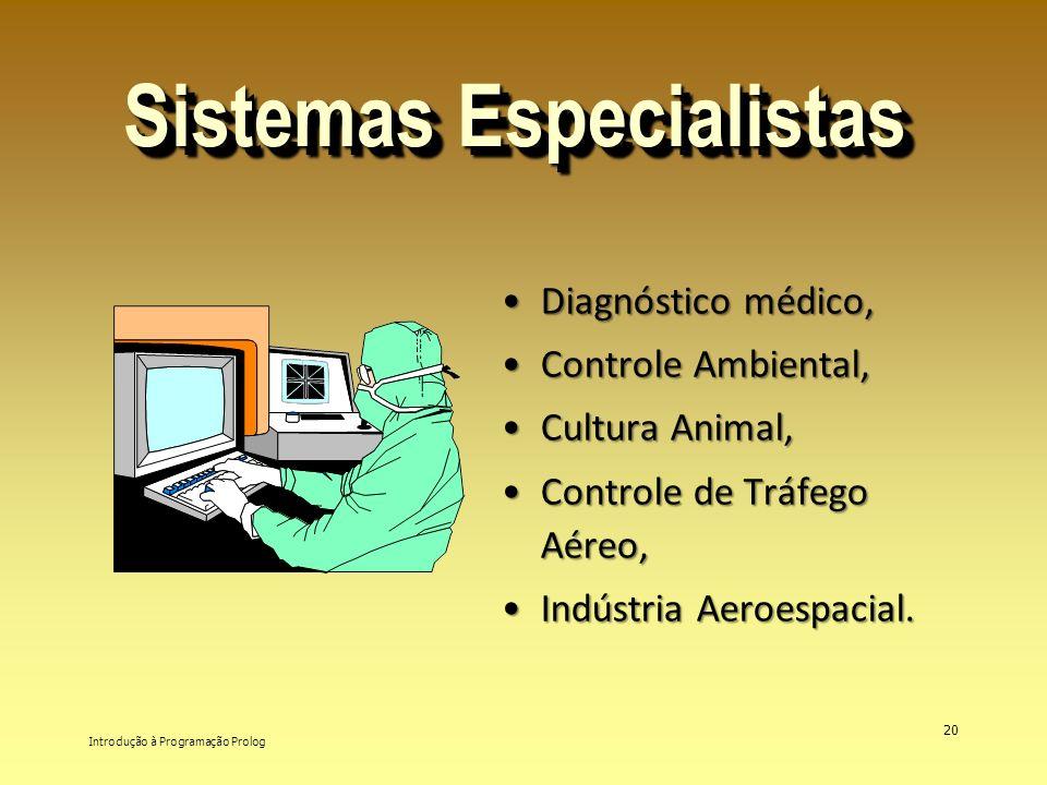 Introdução à Programação Prolog 20 Sistemas Especialistas Diagnóstico médico,Diagnóstico médico, Controle Ambiental,Controle Ambiental, Cultura Animal