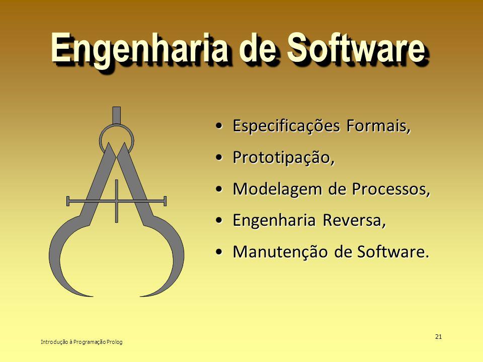 Introdução à Programação Prolog 21 Engenharia de Software Especificações Formais,Especificações Formais, Prototipação,Prototipação, Modelagem de Proce