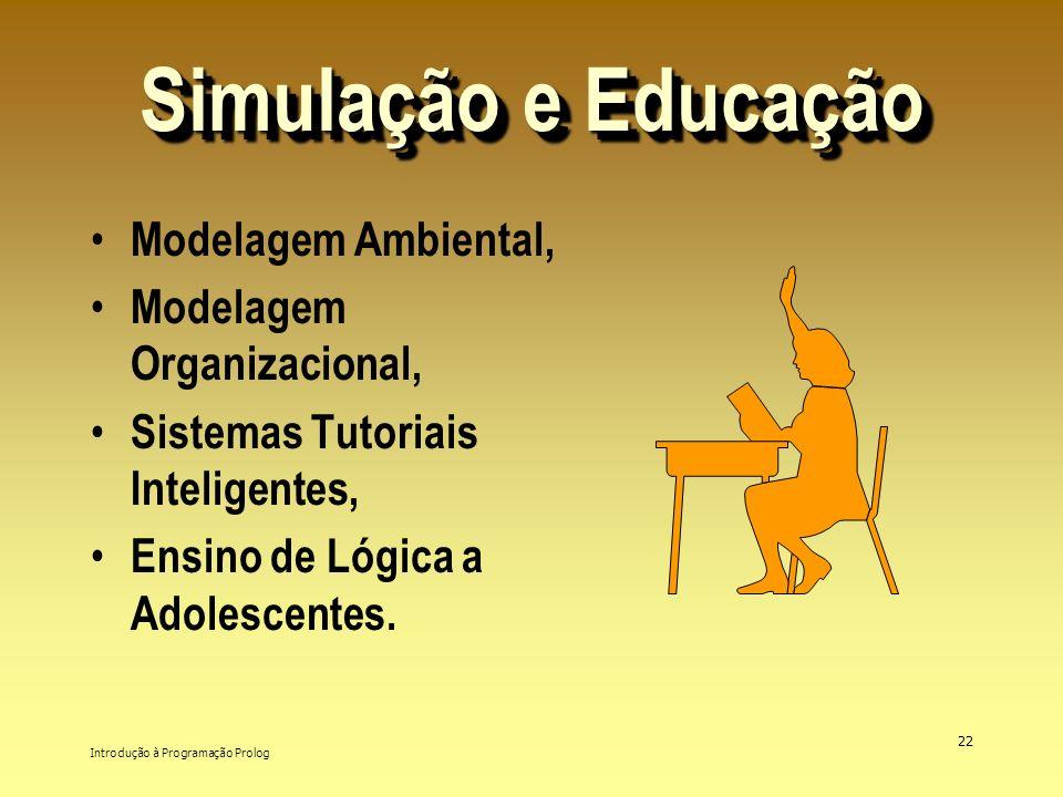 Introdução à Programação Prolog 22 Simulação e Educação Modelagem Ambiental, Modelagem Organizacional, Sistemas Tutoriais Inteligentes, Ensino de Lógi