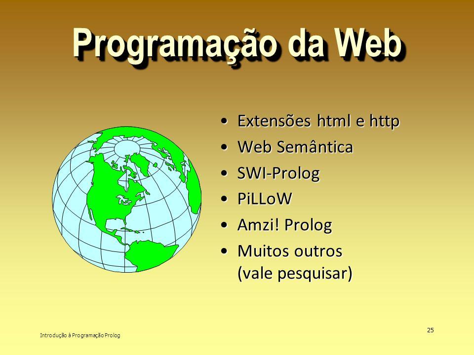 Introdução à Programação Prolog 25 Programação da Web Extensões html e httpExtensões html e http Web SemânticaWeb Semântica SWI-PrologSWI-Prolog PiLLo