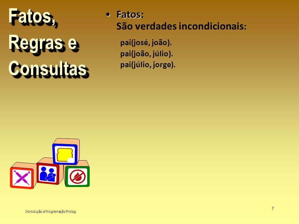 Introdução à Programação Prolog 7 Fatos, Regras e Consultas FatosFatos: São verdades incondicionais : pai(josé, joão). pai(joão, júlio). pai(júlio, jo