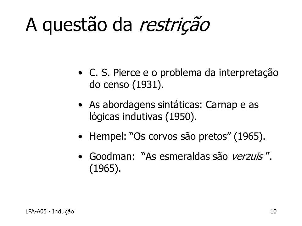 LFA-A05 - Indução10 A questão da restrição C. S. Pierce e o problema da interpretação do censo (1931). As abordagens sintáticas: Carnap e as lógicas i