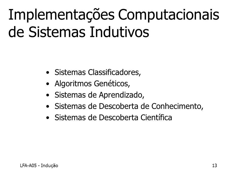LFA-A05 - Indução13 Implementações Computacionais de Sistemas Indutivos Sistemas Classificadores, Algoritmos Genéticos, Sistemas de Aprendizado, Siste