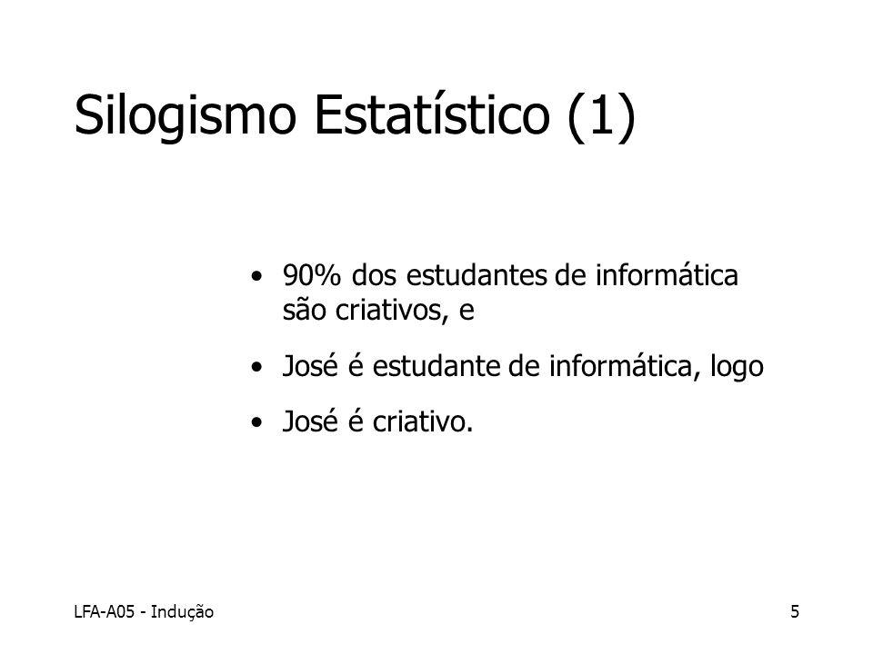 LFA-A05 - Indução5 Silogismo Estatístico (1) 90% dos estudantes de informática são criativos, e José é estudante de informática, logo José é criativo.