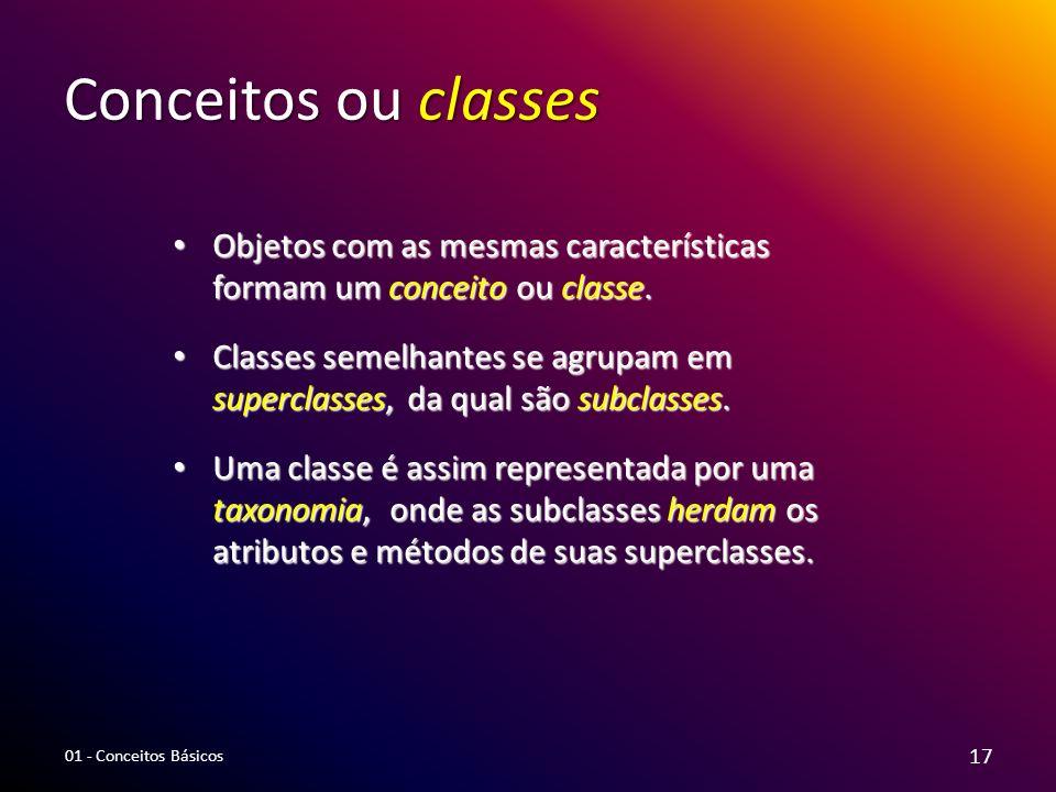 Conceitos ou classes Objetos com as mesmas características formam um conceito ou classe. Objetos com as mesmas características formam um conceito ou c