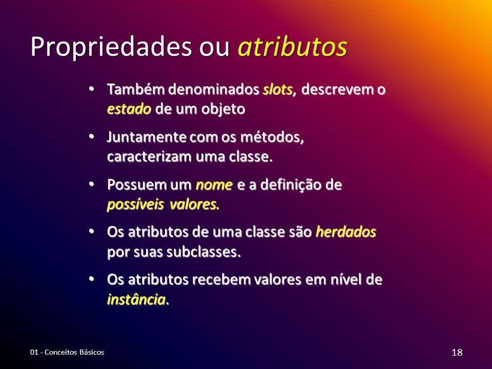 Propriedades ou atributos Também denominados slots, descrevem o estado de um objeto Também denominados slots, descrevem o estado de um objeto Juntamen