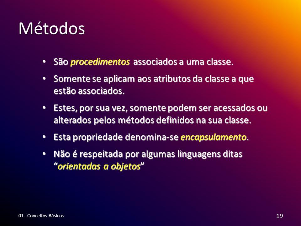 Métodos São procedimentos associados a uma classe. São procedimentos associados a uma classe. Somente se aplicam aos atributos da classe a que estão a