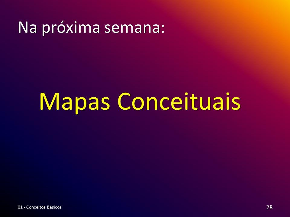 Na próxima semana: Mapas Conceituais 01 - Conceitos Básicos 28