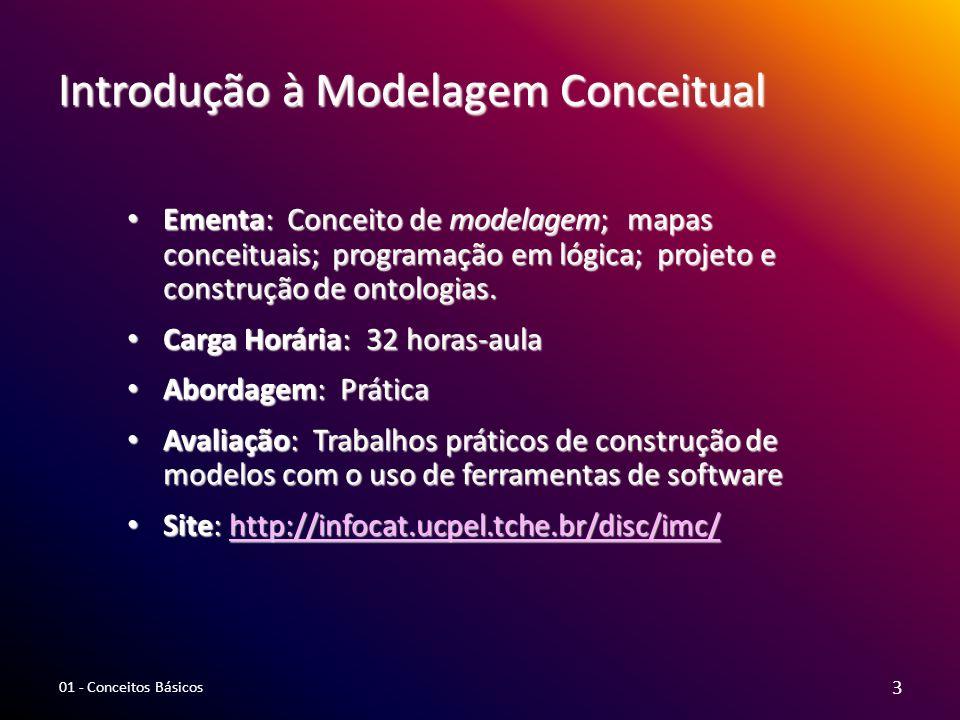 Introdução à Modelagem Conceitual Ementa: Conceito de modelagem; mapas conceituais; programação em lógica; projeto e construção de ontologias. Ementa: