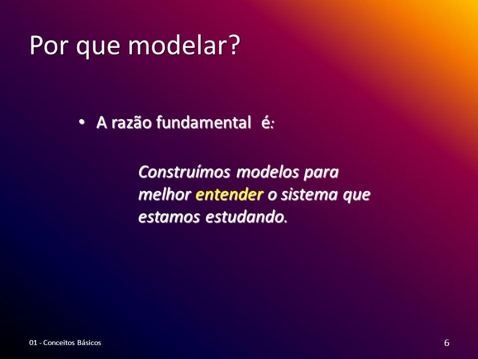 Por que modelar? A razão fundamental é : A razão fundamental é : Construímos modelos para melhor entender o sistema que estamos estudando. 6 01 - Conc