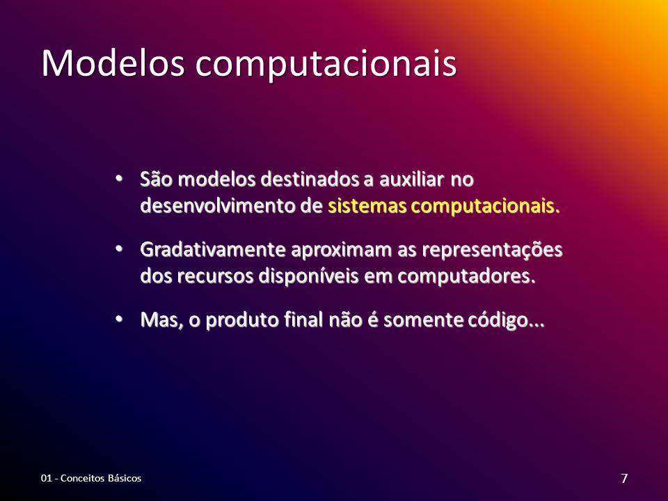Modelos computacionais São modelos destinados a auxiliar no desenvolvimento de sistemas computacionais. São modelos destinados a auxiliar no desenvolv