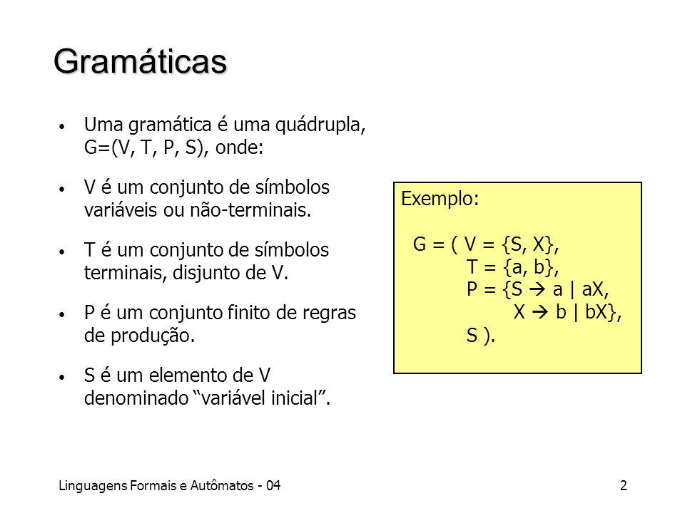 Linguagens Formais e Autômatos - 042 Gramáticas Uma gramática é uma quádrupla, G=(V, T, P, S), onde: V é um conjunto de símbolos variáveis ou não-term
