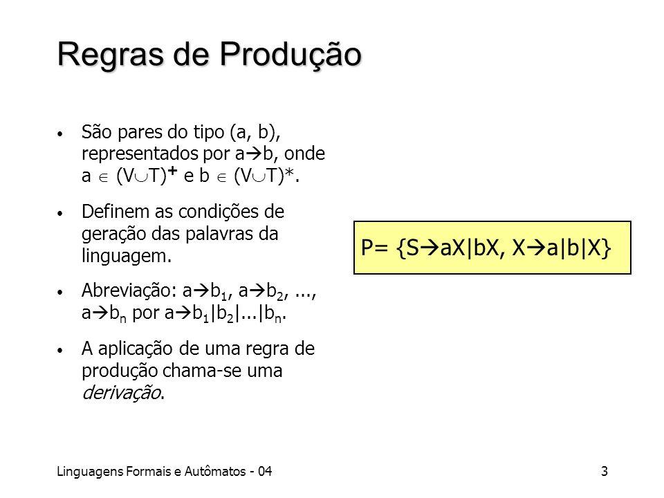 Linguagens Formais e Autômatos - 043 Regras de Produção São pares do tipo (a, b), representados por a b, onde a (V T) + e b (V T)*. Definem as condiçõ