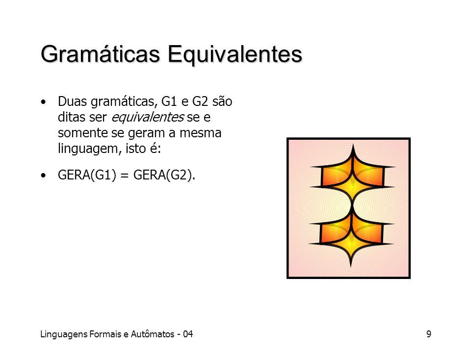 Linguagens Formais e Autômatos - 049 Gramáticas Equivalentes Duas gramáticas, G1 e G2 são ditas ser equivalentes se e somente se geram a mesma linguag