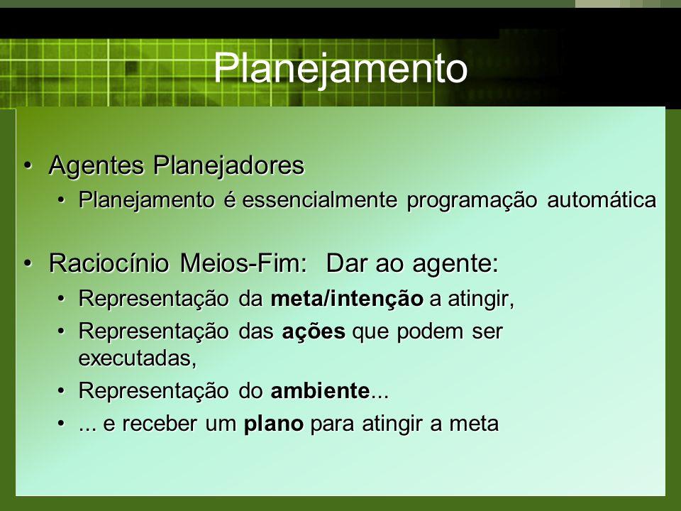 Planejamento Agentes PlanejadoresAgentes Planejadores Planejamento é essencialmente programação automáticaPlanejamento é essencialmente programação au