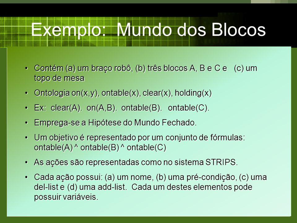 Exemplo: Mundo dos Blocos Contém (a) um braço robô, (b) três blocos A, B e C e (c) um topo de mesaContém (a) um braço robô, (b) três blocos A, B e C e