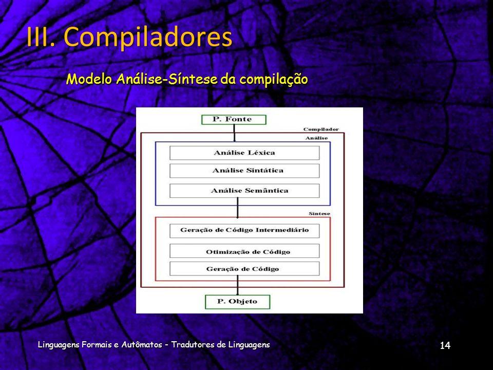 Pode-se dividir o processo de compilação em duas fases:Pode-se dividir o processo de compilação em duas fases: Análise : parte o programa fonte em peç